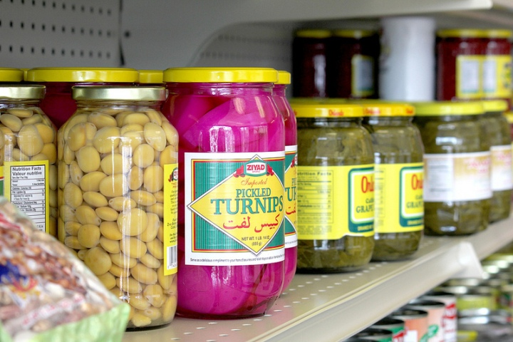 Grape Vine stocks middle eastern delicacies like butter ghee, red lentils and pickled turnips.