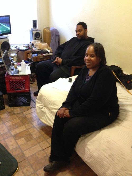 Sandra Benson and Ravon Pugh in their Uptown apartment.